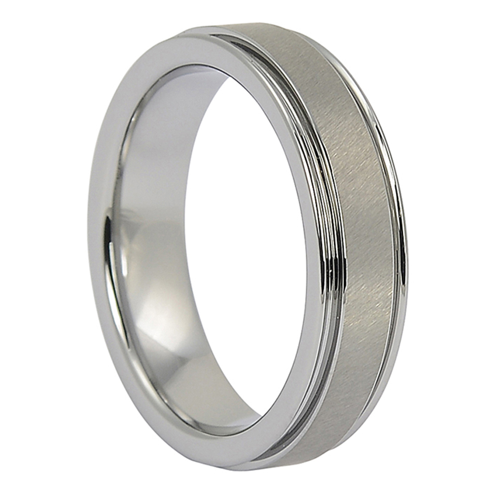 FTR-008-Tungsten Mens Wedding Ring with Satin Center