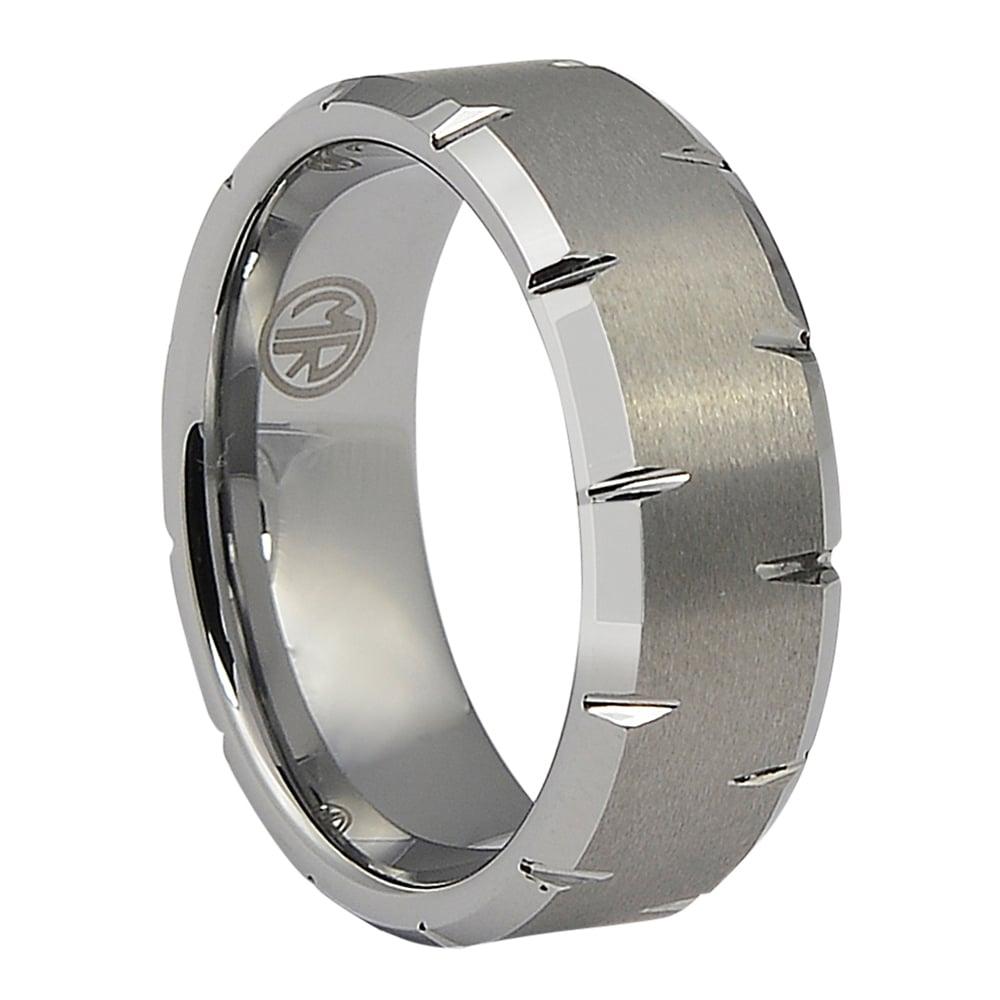 FTR-013-Cut Edge Tungsten Mens Ring