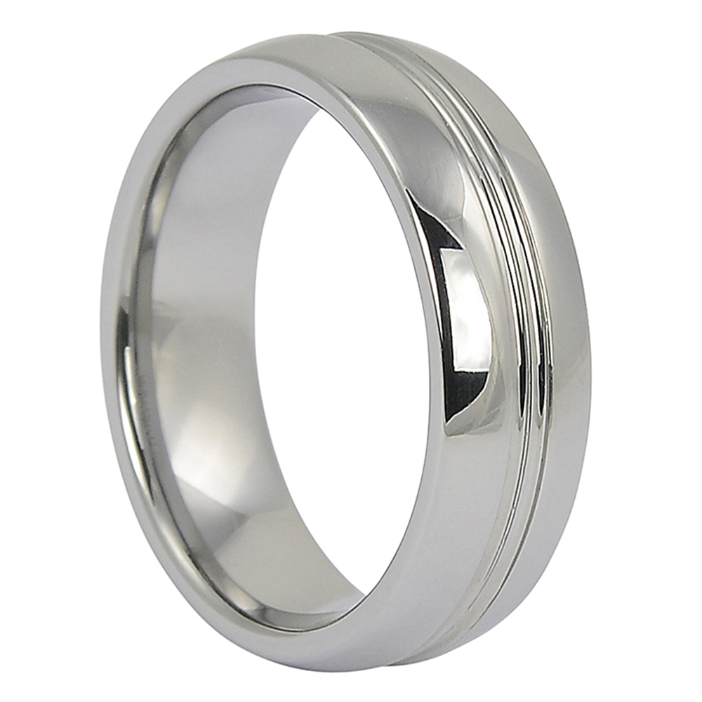 Twin Groove Tungsten Ring