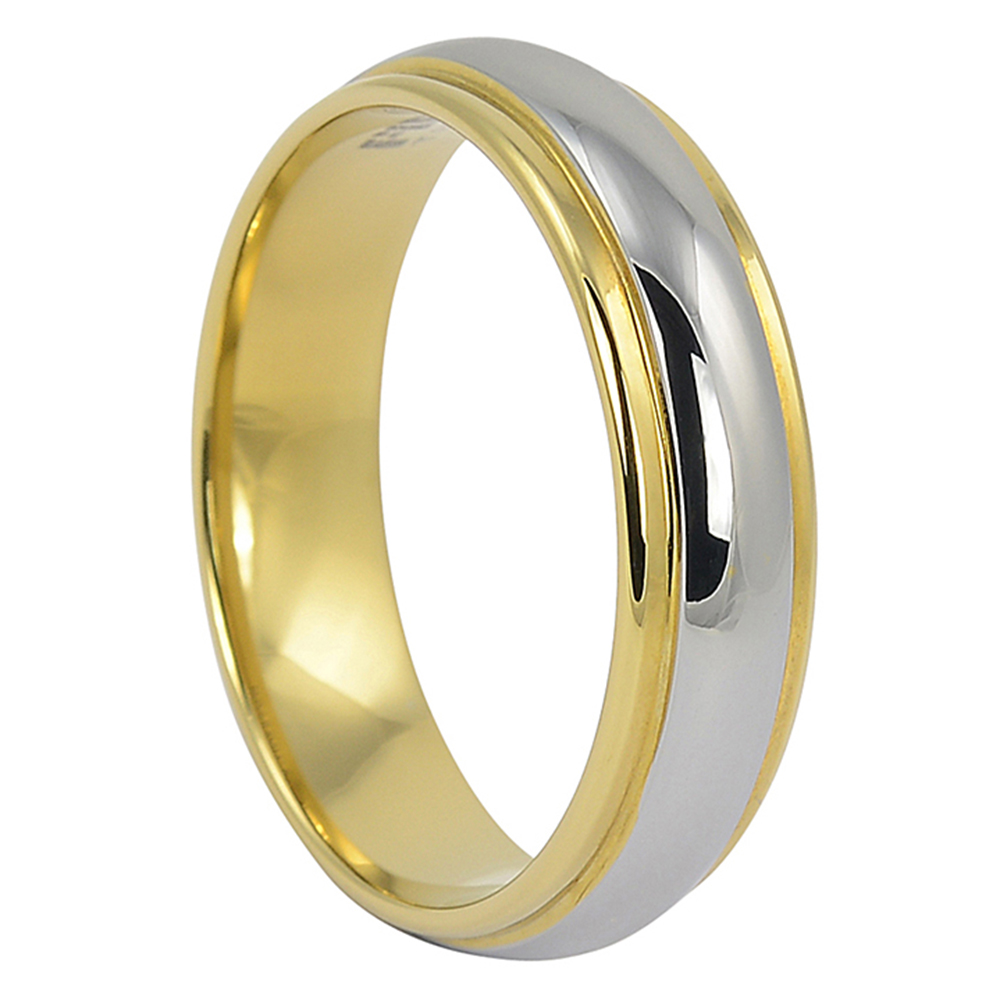 FTR-022-Gold Edged Tungsten Mens Wedding Ring