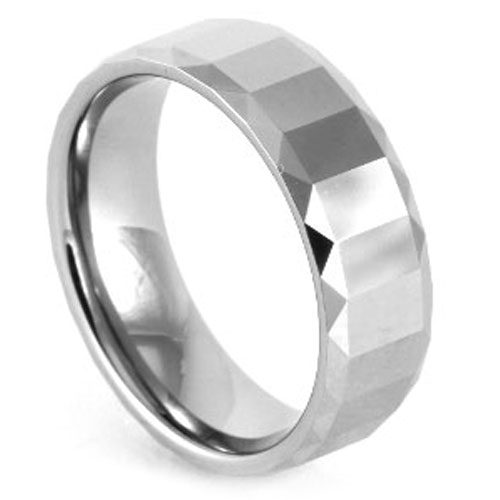 Polished Faceted Tungsten Ring
