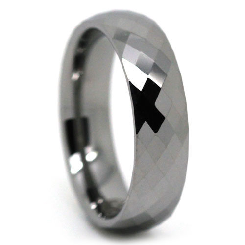 FacetedTungstenMensRing