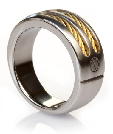 Titanium Ring with Gold Cables