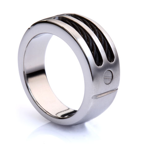 Black Cable Titanium Signet Ring