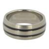 Titanium Mens Ring with Dual Black Inlay