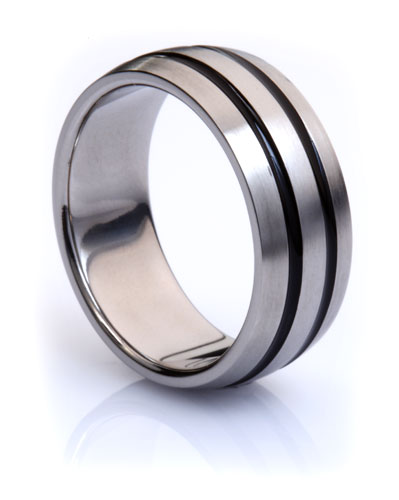 Titanium Ring with Dual Black Inlay