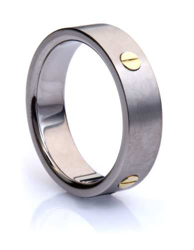 Titanium Ring with Exposed Gold Screws