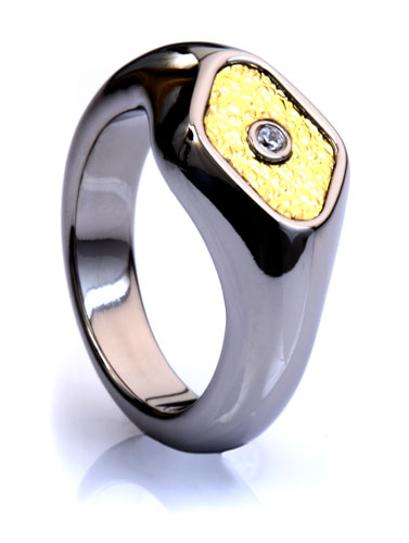 Titanium Signet Ring with Gold