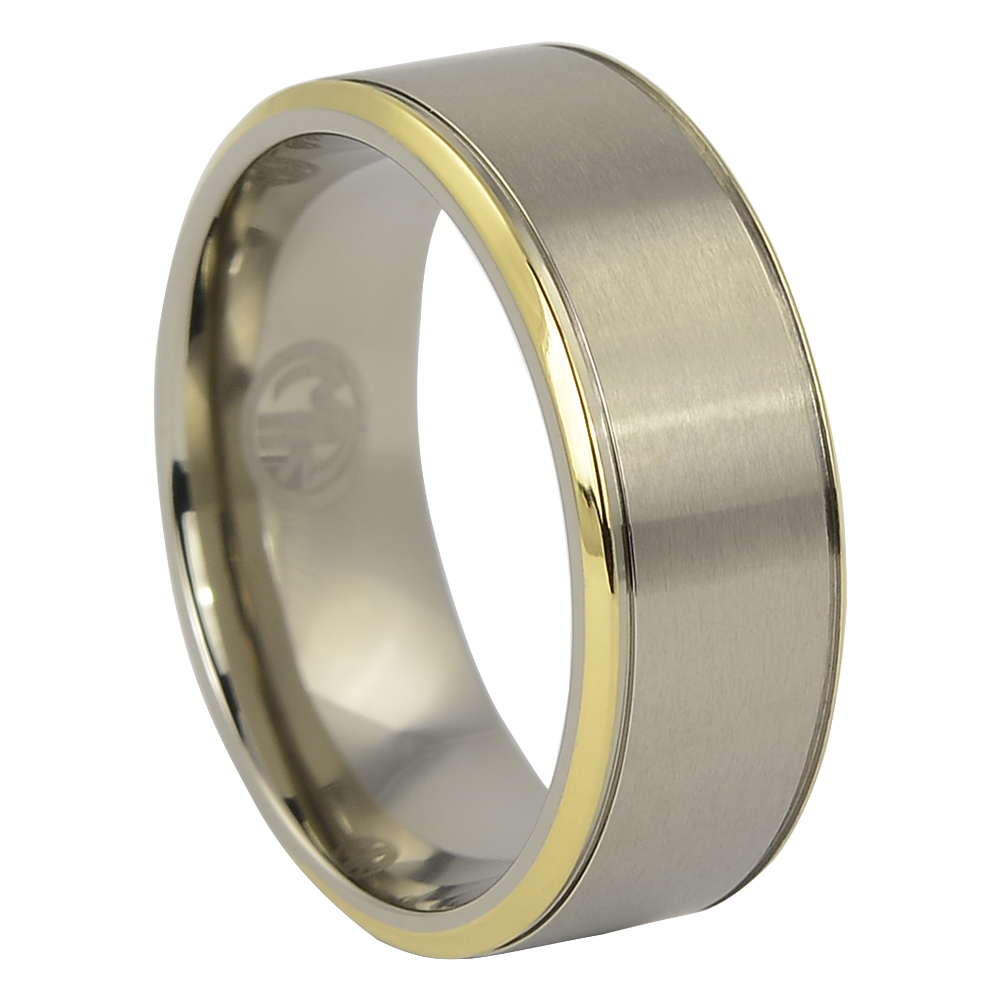 Mens Titanium Ring with Gold Edge