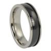 Mens Titanium Ring With Wide Black Centerline