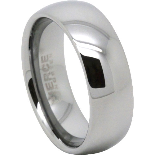Wide Polished Tungsten Wedding Ring