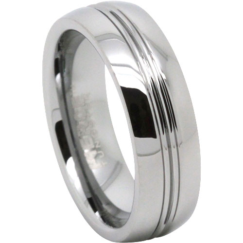 Grooved Mens Tungsten Wedding Ring