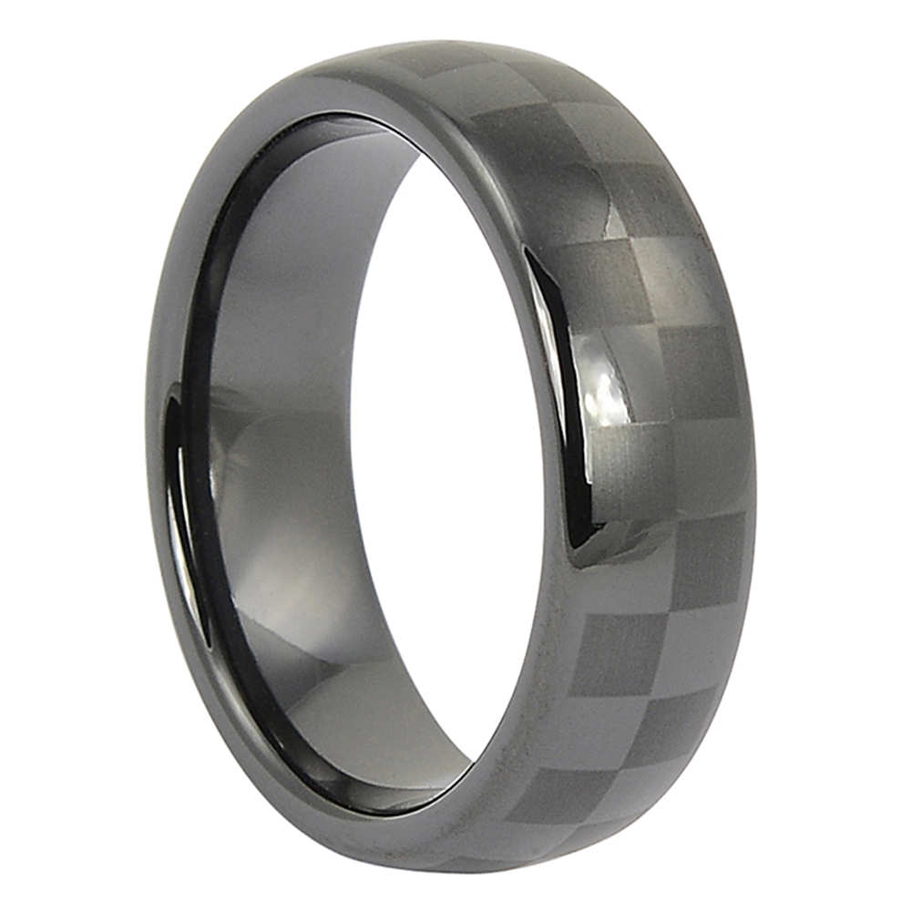 CCR-004-Mens Black Ceramic Ring with Chequered Pattern