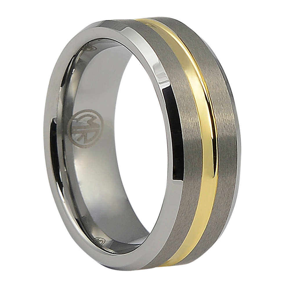 FTR-033-Tungsten Mens Wedding Ring With Gold
