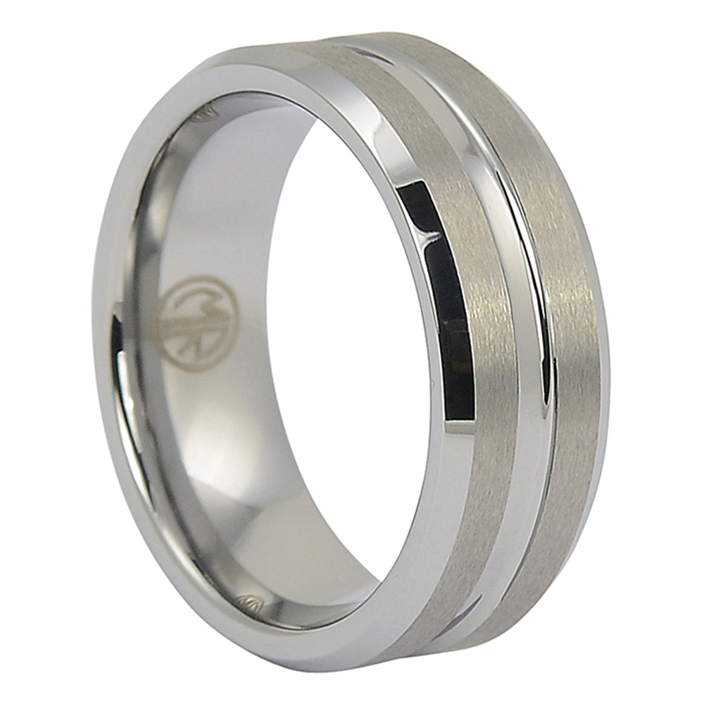 FTR-034-Brushed Tungsten Ring with Polished Centerline