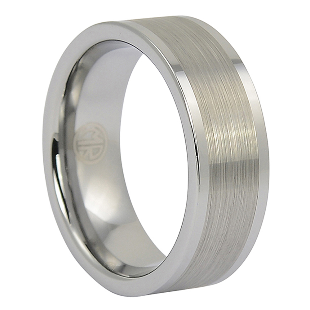 FTR-037-Brushed 8mm Flat Mens Tungsten Ring