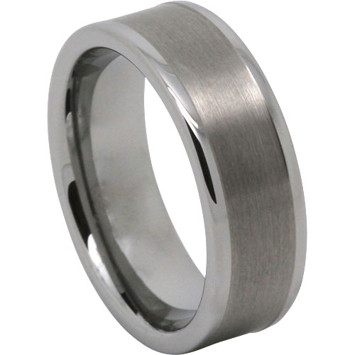 Mens Tungsten Wedding Bands.Brushed 8mm Flat Mens Tungsten Ring