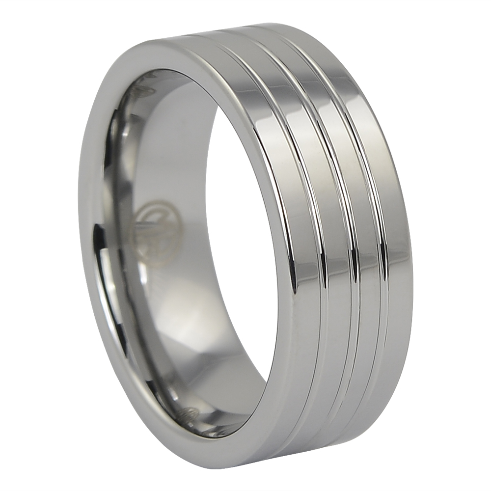 Wide Triple Grooved Tungsten Ring