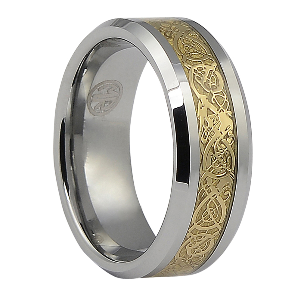 Unique Tungsten And Gold Mens Ring