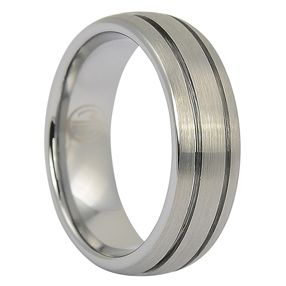 FTR-045-Tungsten Mens Ring With Twin Grooves
