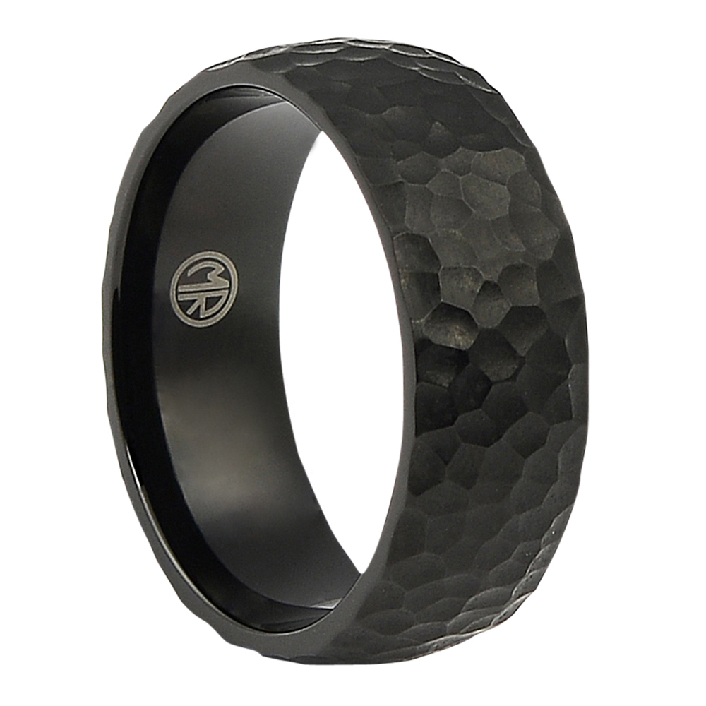 ITR-079-Textured Black Titanium Ring