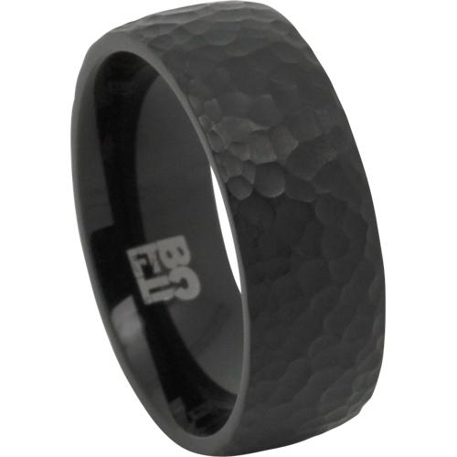 textured black titanium ring