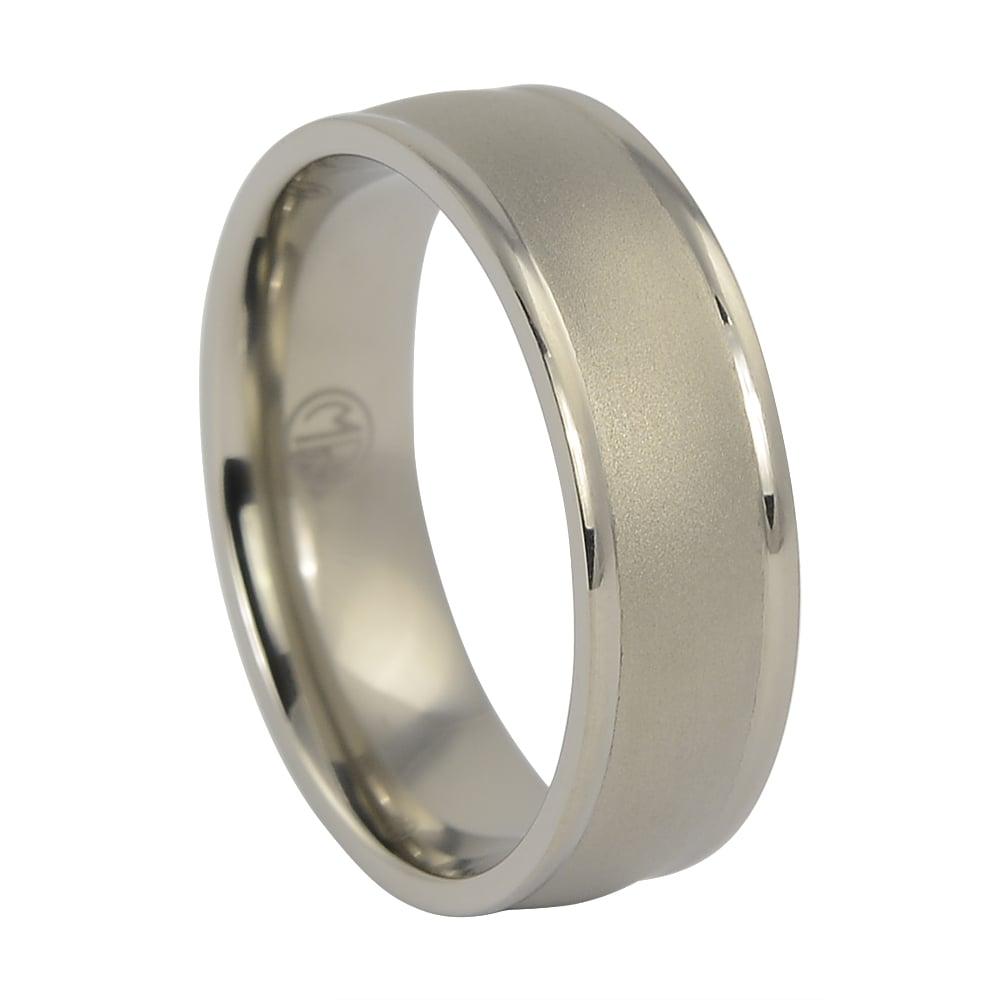 Titanium Mens Ring with Stone Brushed Finish