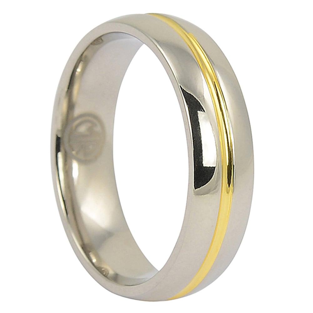 ITR-081-Gold Centreline Titanium Wedding Ring