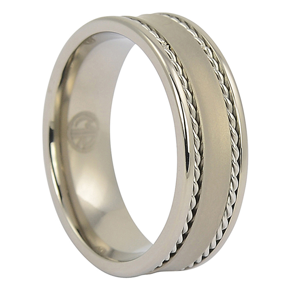 ITR-084-Titanium Mens Ring with Rope Edges