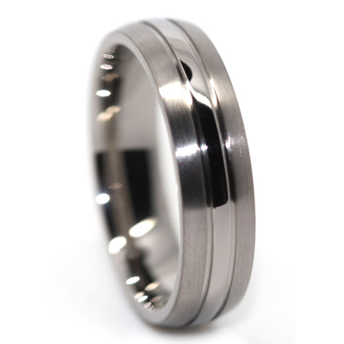 Polished Center Titanium Ring with Satin Edges