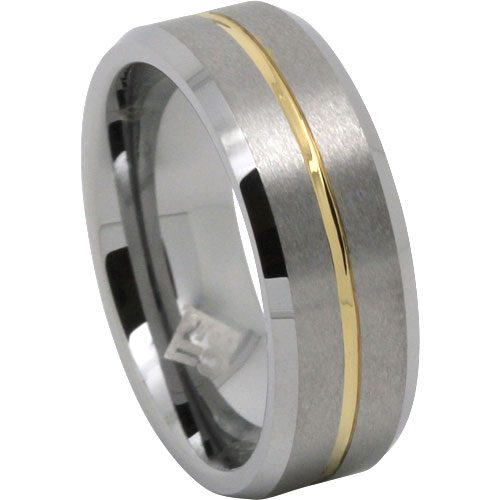 Mens Gold Stripe Tungsten Mens Wedding Ring