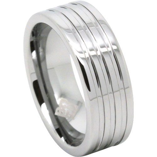 Wide Groove Mens Tungsten Ring