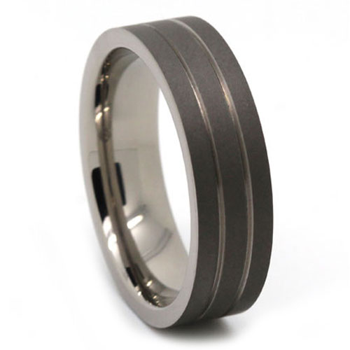 Dark Matte Finish Twin Groove Titanium Ring