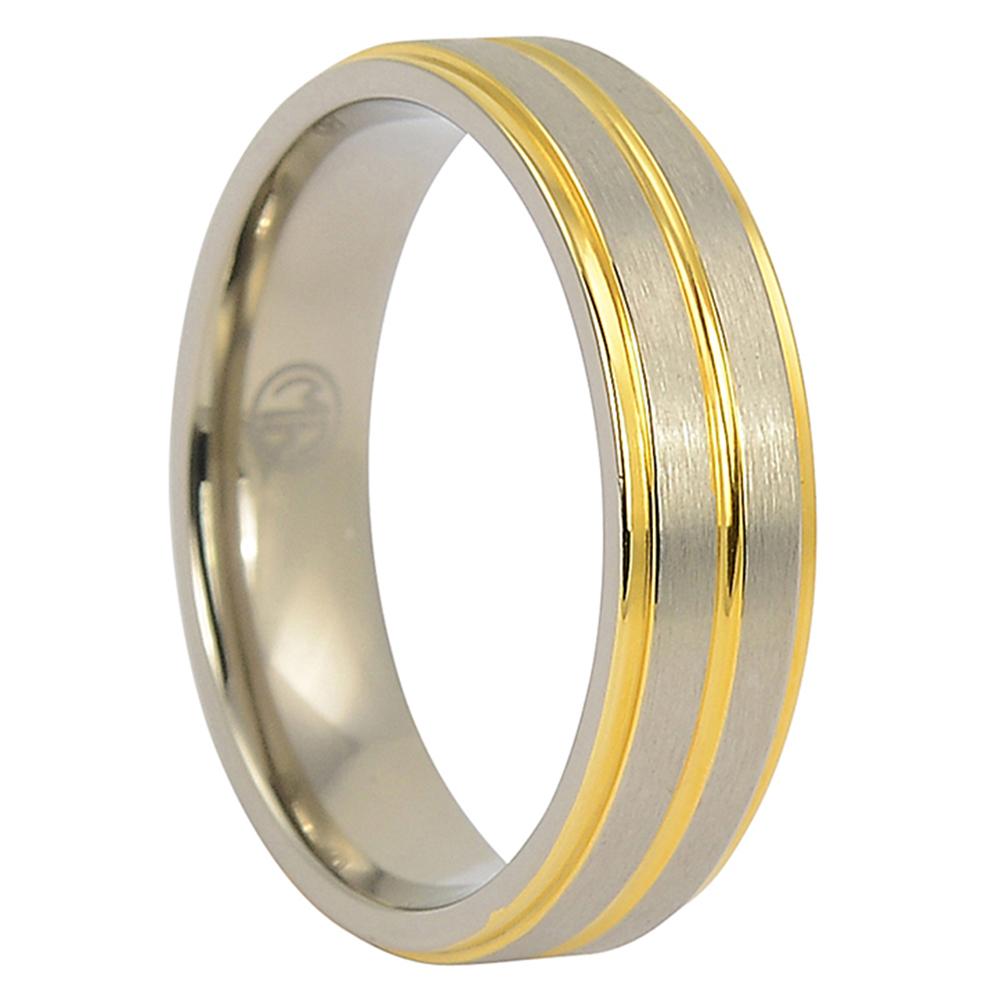 ITR-092-Gold And Satin Finish Titanium Wedding Band