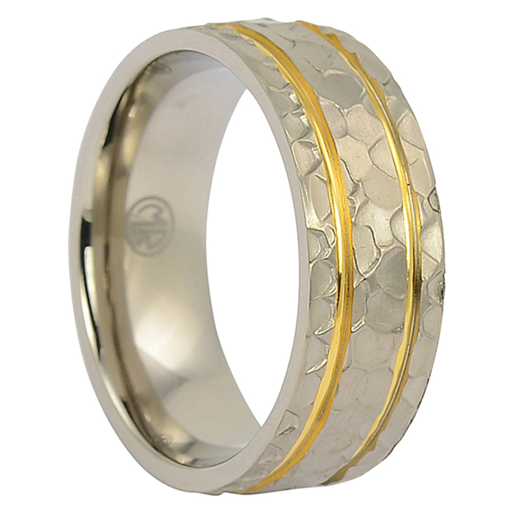 ITR-093-Hammered Gold And Titanium Wedding Band