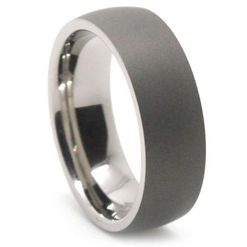 Mens Anium Wedding Band | Dark Matte Finish Titanium Dome Mens Ring