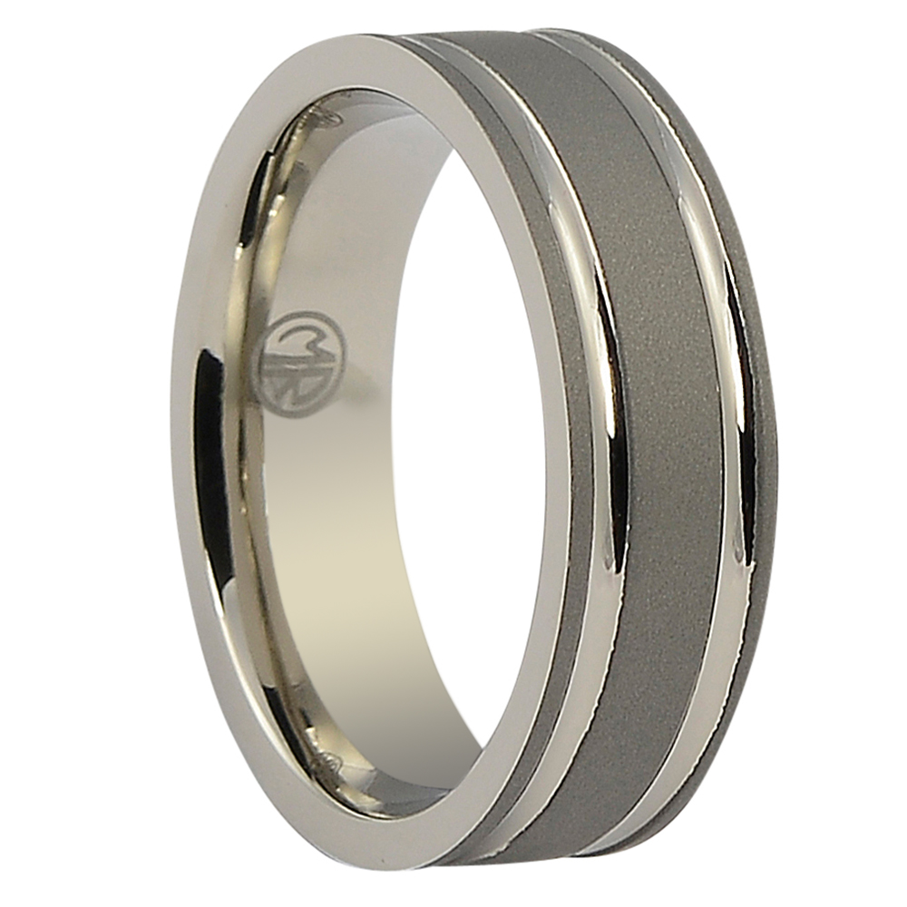 ITR-095-Dark Matte Finish Titanium Mens Ring