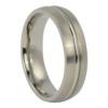 Brushed Titanium Wedding Ring with Raised Centerline