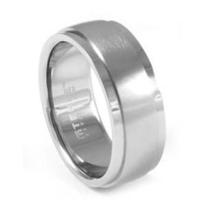 TitaniumBrushedMensRingWithStepEdge