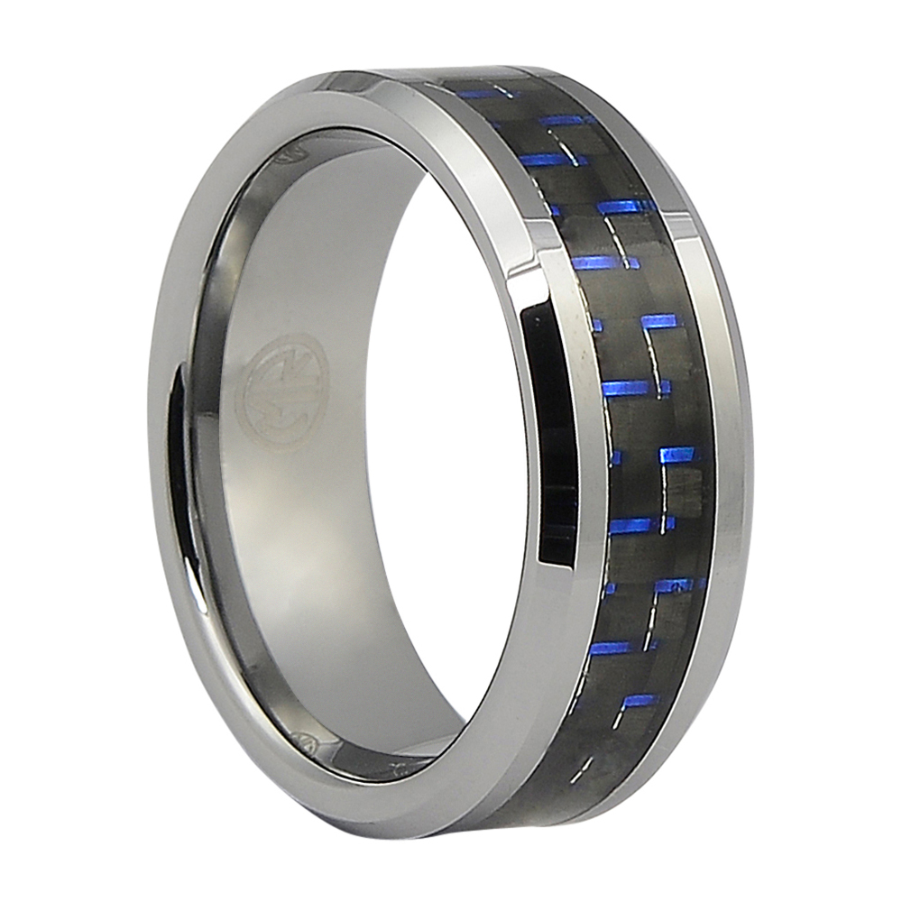 FTR-050-Carbon Fibre Tungsten Ring with Blue Highlights