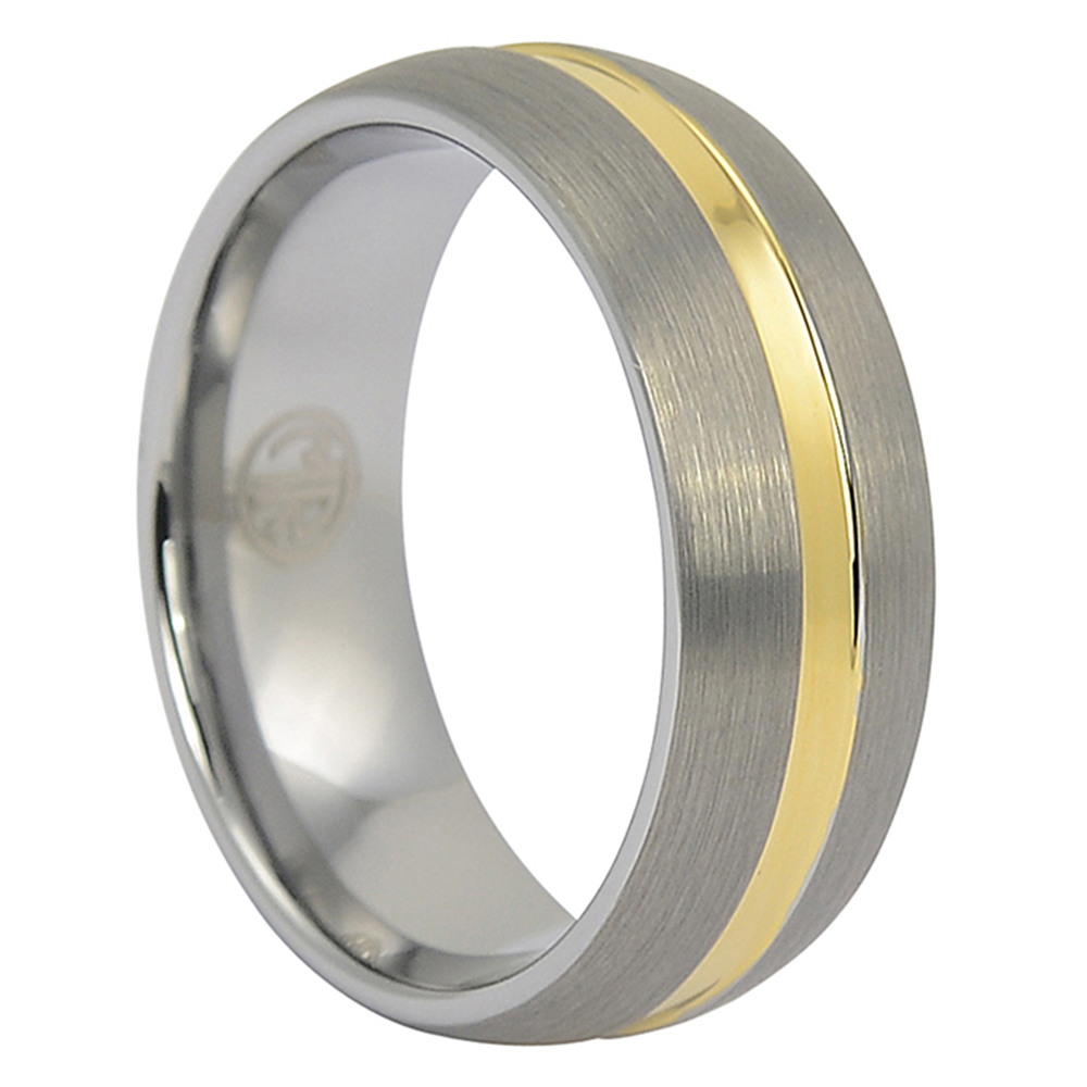 FTR-051-Tungsten Dome Mens Wedding Ring With Gold
