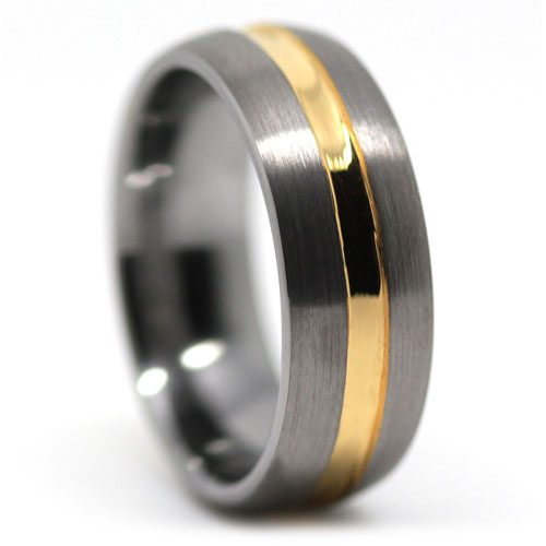Mens Gold Tungsten Ring