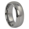 Dome Polished Tungsten Ring with Dual Brushed Line Accents