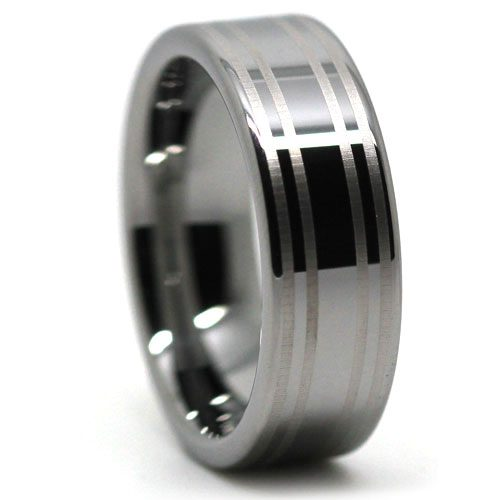 Twin Stripe Tungsten Wedding Ring