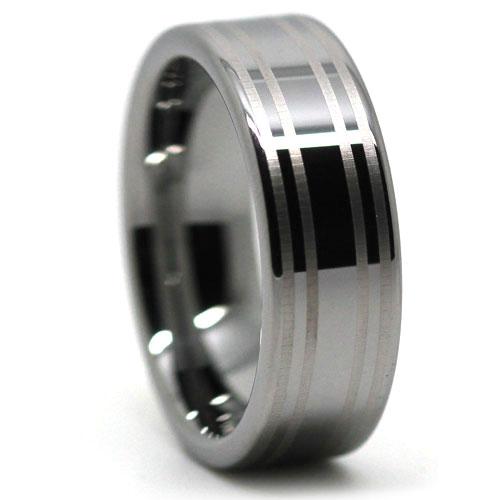 Twin Stripe Tungsten Wedding Ring