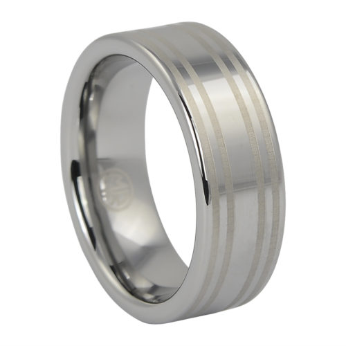 Wide Flat Polished Tungsten Ring with Dual Brushed Line Accents