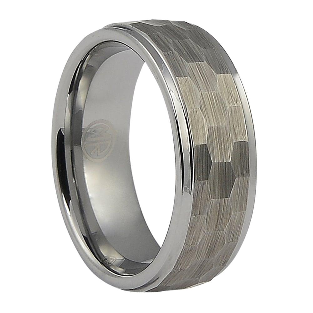 FTR-054-Mens Hammered Tungsten Ring