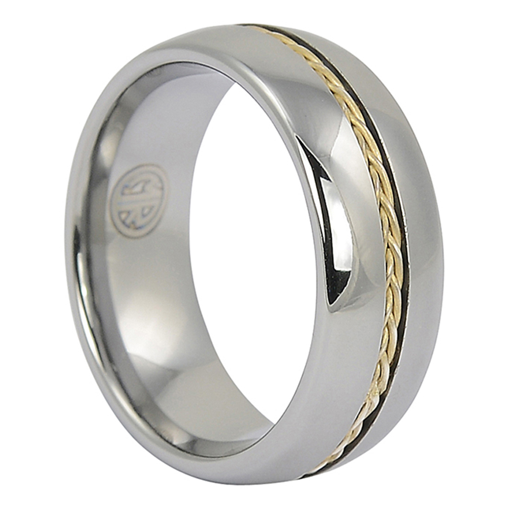 FTR-055-Mens Wedding Tungsten Ring with Plated Rope Inlay