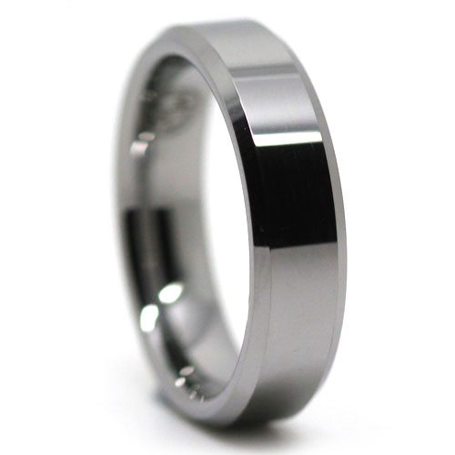 Classic Polished Mens Tungsten Ring