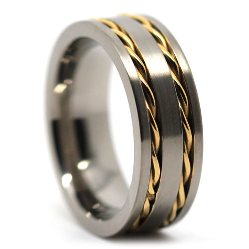 Titanium Wedding Band with Gold Chain Inlay